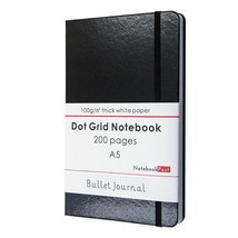 Black Bullet Journal Notebook, A5 Dot Grid Notebook Leather Cover Bujo 2... - $17.18