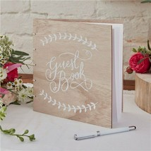 Ginger Ray Wooden Wedding Guest Book - Boho - 32 Pages - $26.92