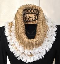 Infinity Cowl Scarf HANDMADE Ivory Creme / Tan Khaki Acrylic NEW Hand Cr... - £26.97 GBP