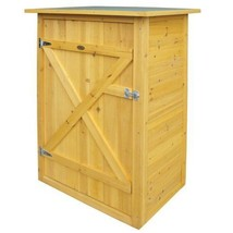 Storage Shed Wooden Garden Cupboard Flat Roof Shelves Small Outdoor Furn... - $159.18