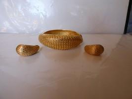 VINTAGE Goldtone Monet Clamp Back Earrings & Similar Unbranded Cuff Bracelet - $35.00