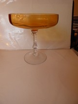 Vintage Fostoria COMPOTE Amber & Clear Fancy Stem - $35.00