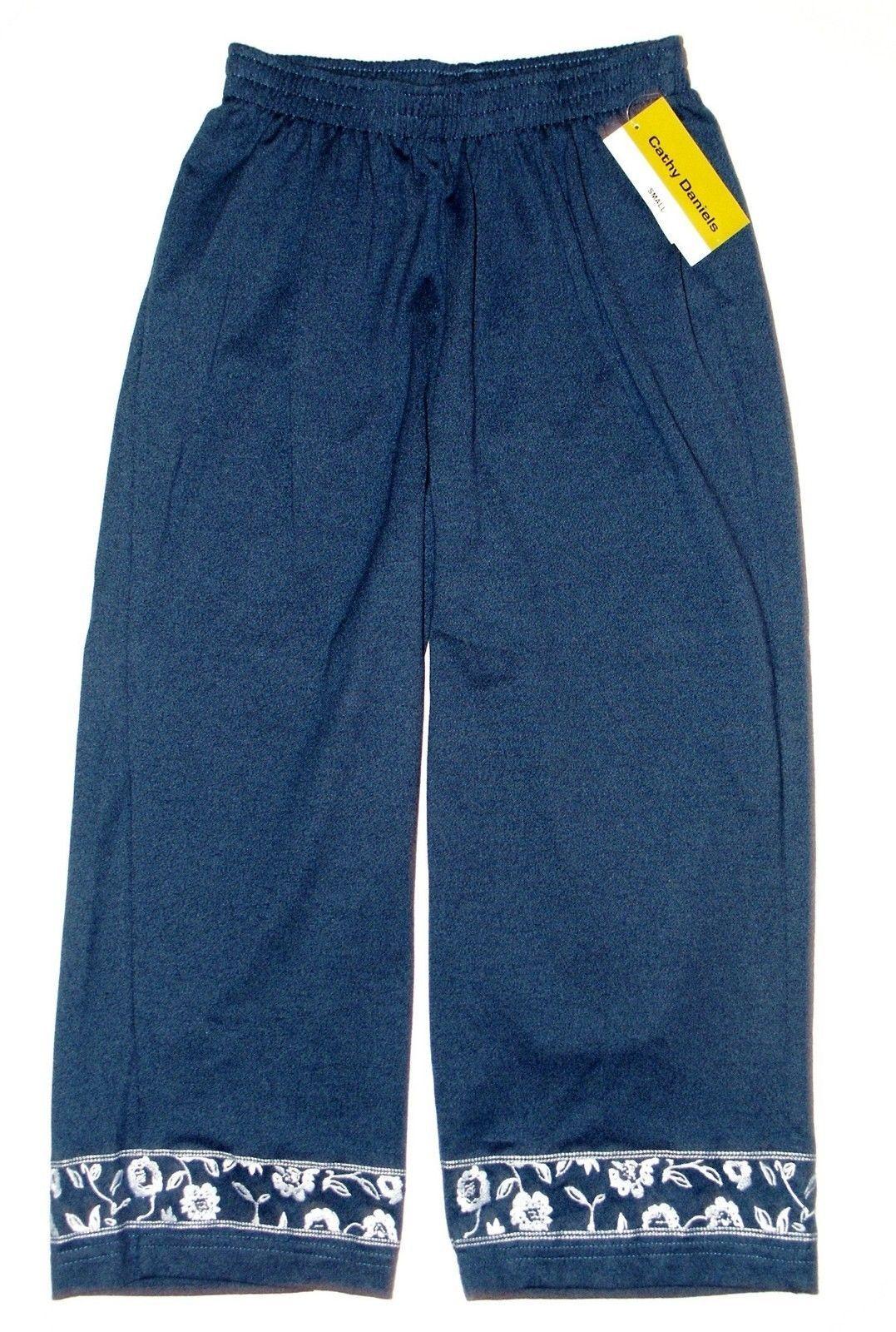 19c2701116c4c6 Cathy Daniels NEW Denim Blue Embroidered Legs Capris Pants Womens Size S  $42 - $21.00