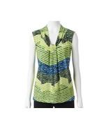 Dana Buchman Knot Front V-Neck Top Wild Lime Blue Print XS S M L XL 2XL ... - $18.00