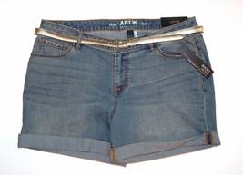 Apt.9 Women's Size 16 Belted Denim Cuffed Shorts Medium Wash Whiskered N... - $23.00