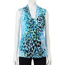 Dana Buchman Knot Front V-Neck Top Blue Animal Print S M L XL 2XL NEW $30 - $20.00