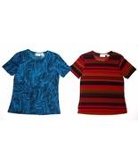 Lot of 2 Jaclyn Smith Slinky Tops Crewneck Short Sleeve Womens Size S - $19.99