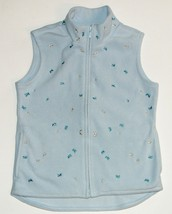 GAP Blue Plush Velour Sparkly Butterfly Embroidered Zip Vest Girls Size M image 1