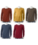 Sonoma Mens Size XXL 2XL Extra Soft Thermal Henley Crew Cotton Knit L/S ... - $17.00