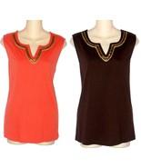 Croft & Barrow NEW Brown Orange Beaded Sequined Tank Top Womans 1X 2X 3X... - $17.99