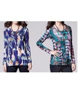 Simply Vera Wang Print Scoopneck Soft Tee Top Women's M L XL Long Sleeve... - $24.00