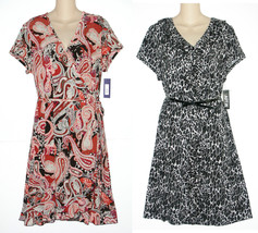 Apt.9 NEW Animal Print or Orange Paisley Slinky V-Neck Dress Womans 1X 3... - $32.00