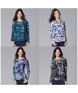 Simply Vera Wang NEW Windy Abstract Print Tee Top Long Sleeve Misses S-X... - $20.00