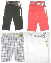 Lee Womens Natural Fit Slimming Capri Pants Black Coral Plaid or White NEW $42 - $21.00