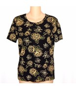 Bentley Womens Size M Slinky Stretchy Black Floral Knit Top - $10.00