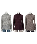 Apt.9 Womens Essential Turtleneck Top Ivory Brown Purple Dotted S-XL NEW... - $16.00