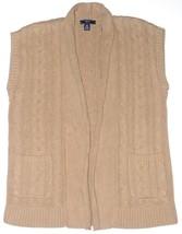 Chaps Womens Camel Tan Sweater Open Vest S M XL NEW $79 - $39.00