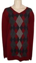 Apt.9 Mens Argyle V-Neck Sweater Big & Tall 4XB Burgundy Gray NEW $75 - $37.50
