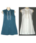Dana Buchman White or Blue Beaded Sleeveless Top Shirt XS S M NEW $48 - $24.00