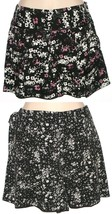 Elle Womens Black Floral Pleated Dress Shorts Parisian Chic or Marrakesh... - $20.00