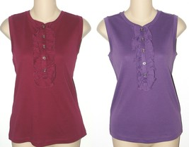 Chaps NEW Raspberry Wine Red or Purple Ruffled Henley Knit Top Size S M L XL $40 - $20.00