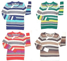 Sonoma Blue Beige Green or Coral Striped Scoop Sweater Womens L XL NEW $40 - $20.00