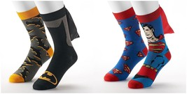 Mens 2-Pack Super Hero Batman or Superman Caped Crew Socks Size 10-13 NE... - $13.00