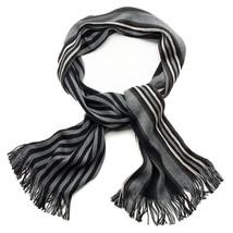 Apt. 9 Men's Striped Raschel Scarf Black & Gray Fringed Acrylic NEW $30 - $18.00