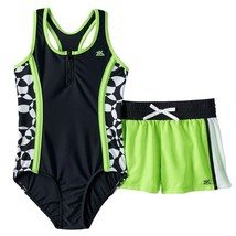ZeroXposur Girls Acid Lime Green & Black One-Piece Swimsuit & Shorts Set... - $28.00