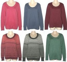 Sonoma Womens S M L XL Scoop Neck Sweater Blue Gray Green Pink Red New $36 - $18.00