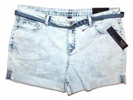 Apt.9 Women's Size 16 Denim Cuffed Shorts Distressed Light Wash Belt NEW... - $23.00
