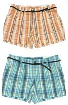 Sonoma NEW Apricot Orange or Blue Plaid Shorts w/Braided Belt Womans Plu... - $20.00