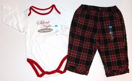 Childrens Place NEW Red Green Plaid Pants Top Holiday 2 Piece Outfit Boys 3M-12M - $15.00
