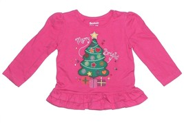 Garanimals NEW Pink Embroidered Christmas Tree Holiday Ruffled Top Girls... - $9.00