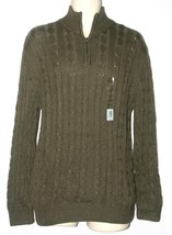 Croft & Barrow NEW Moss Green Cable Knit Half Zip Sweater Mens Size S Sm... - $25.00