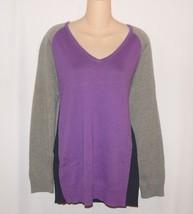 Chaps Womans Plus 1X Color Block Sweater V-Neck Purple Navy Gray NEW $65 - $36.00