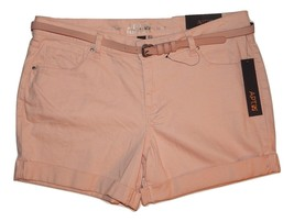 Apt 9 Pale Blush Peach Womens Denim Jean Shorts Belted Cuffed 12 14 16 N... - $22.00