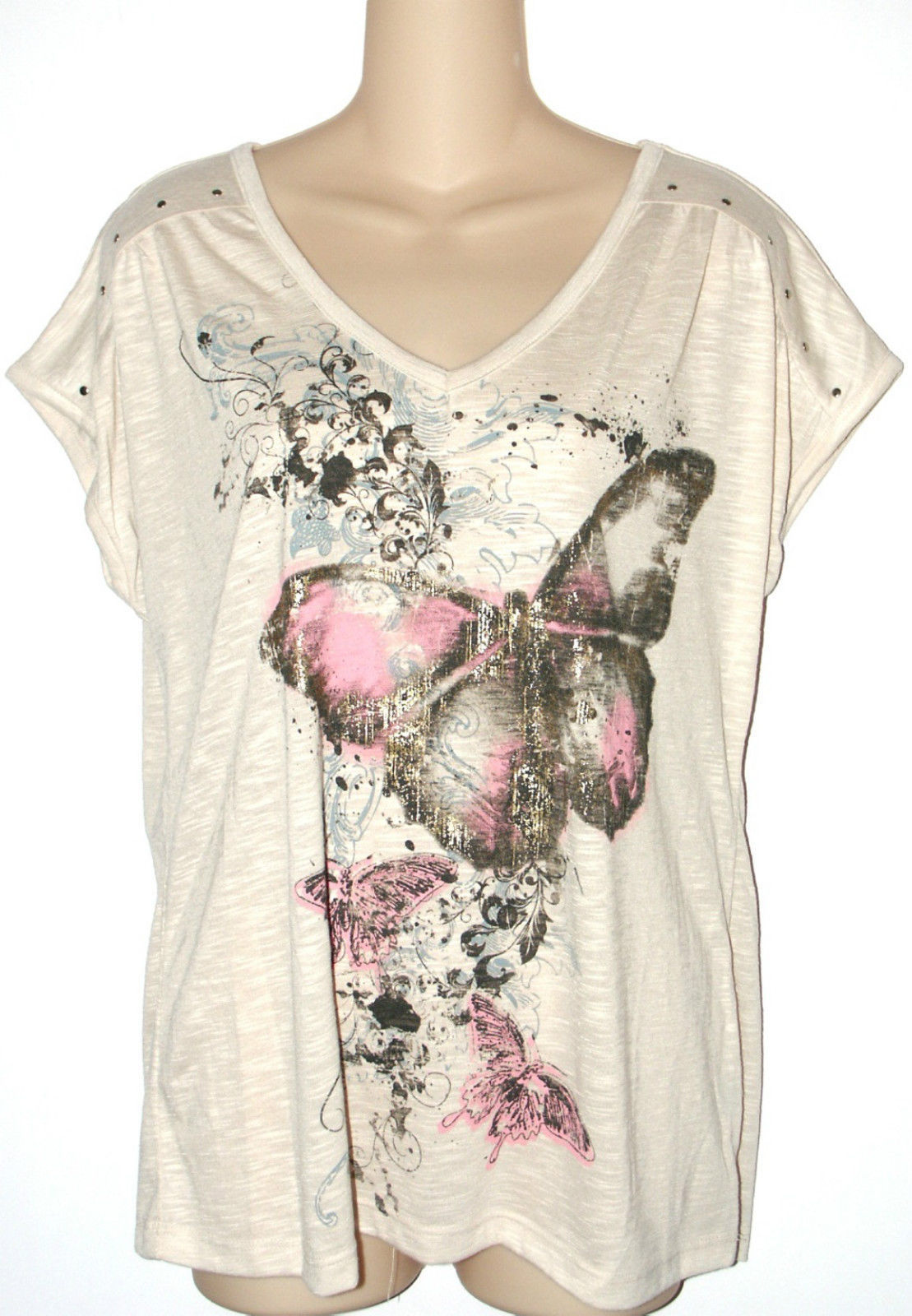 Faded Glory NEW Beige Butterfly Graphic V-Neck Tee Top Womens Size S