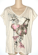 Faded Glory NEW Beige Butterfly Graphic V-Neck Tee Top Womens Size S - €10,69 EUR