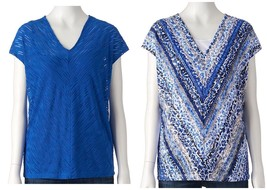 Dana Buchman Textured V-Neck Top & Tank Blue Crush Womens Size M L XL NE... - $25.00