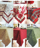 New BETTER HOMES Christmas Holiday Fabric TABLECLOTH Gold Red or Green J... - $23.00+
