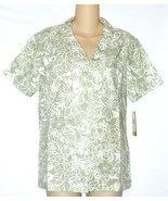 Cathy Daniels NEW Sage Green Floral Camp Shirt Top Misses Size S Small $42 - $22.75