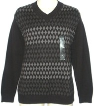 Axcess Claiborne NEW Black Gray V-Neck Cotton Sweater Mens Size M Medium... - $25.00
