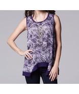 Simply Vera Wang Purple Print Shark Bite Hem Tank Top Womens Size L NEW $36 - $18.00