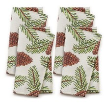 NEW St Nicholas Square Pinecone Fabric 4-Piece Napkin Set Christmas Holiday - $19.50