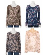 Sonoma Everyday Tee Floral Crew Top Long Sleeve Womens Size S M L XL NEW... - $12.50
