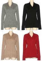 Croft & Barrow NEW Gray Black Tan or Red V-Neck Sweater Misses Size S M ... - $22.00