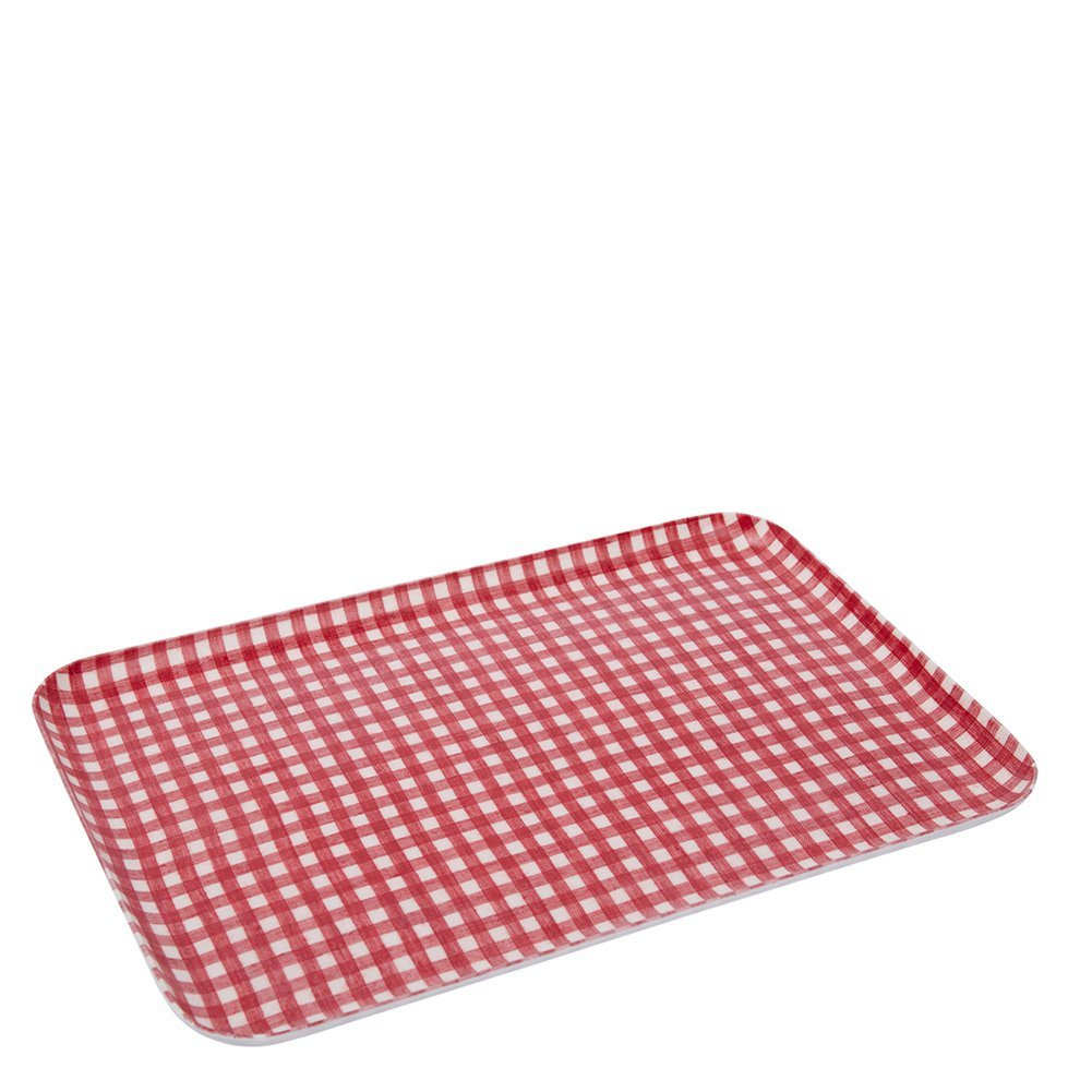 Fog Linen Work Linen Coated Tray (S) LXT001S-RECH Red White Check, Small