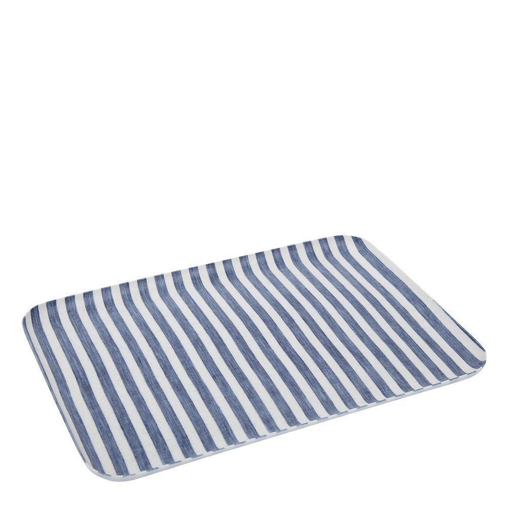 Fog Linen Work Linen Coated Tray (S) LXT001S-BLWSS White Blue Stripe, Small