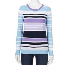 Croft & Barrow Womens Lavender Black Blue Striped Crew Sweater Size L NE... - $20.00